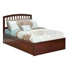 Flat Platform Bed Furniture Walnut Flat Full Size Platform Bed Frame With Drawer