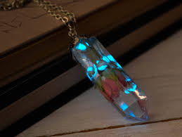 real blue opal glowing necklace with real rose inside glow in the dark