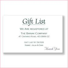 wedding registry card wording gift registry wording for wedding invitations impressive design