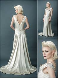 image of sample sale oyster silk satin art deco wedding dress