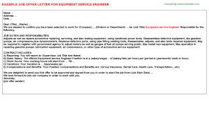 equipment service engineer offer letter