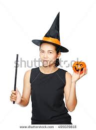 Halloween Costumes Pumpkin Woman Illustration Dressed Witch Stock Vector 37467400