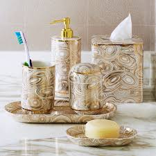 Bathroom Accessories Malachite White U0026 Gold Canister Bath Accessories Jonathan Adler
