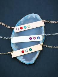 Children S Birthstone Necklace Birthstone Bar Necklace Birthstone Jewelry Mom Gift
