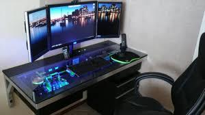 gaming setup desk interior gaming room design idea with redwood desk complete with