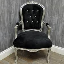antique silver finish french style louis arm chair sofa with black