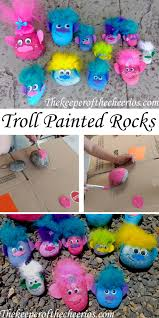 troll painted rocks trolls movie trolls movie kids craft trolls