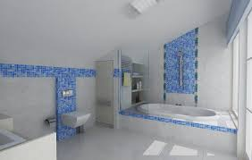 cheerful bathroom design ideas with ocean blue mosaic tile
