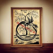Occult Home Decor Ouroboros Print On Antiqued Paper Amazing Occult Home Decor In