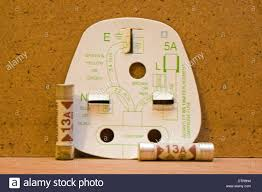 uk three pin plug wiring diagram with 13amp fuses stock photo