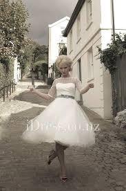 spot tulle ivory tea length boat neck vintage wedding dress 3 4