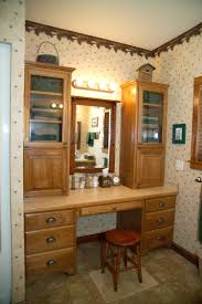 Bedroom Makeup Vanity With Lights Light Brown Wooden Makeup Vanity With Triple Drawers On The Legs