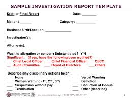 investigation report template investigations workshop part 5 preparing the investigation report 2
