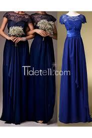 royal blue bridesmaid dresses royal blue a line illusion scoop neck lace bridesmaid dress