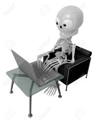 the couch series 3d skeleton mascot sitting on the couch working on a laptop