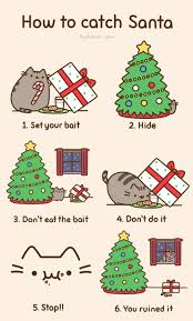 Pusheen The Cat Meme - cat attempts to catch a santa on christmas pusheen comics