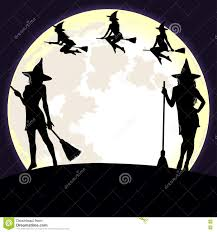 halloween moon background halloween background with witches and moon stock vector image
