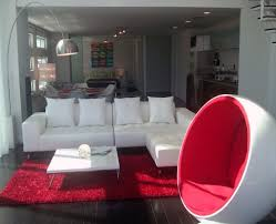 Red Laminate Flooring L Shaped White Velvet Sofa With White Cushions Combined By White