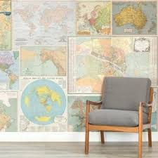 map wallpaper for walls light vintage map collage wallpaper old