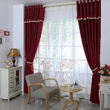 Burgundy Living Room Curtains Cotton And Linen Fabric Burgundy Western Style Curtains