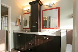 Bathroom Tower Cabinet with Double Vanity With A Custom Tower Cabinet Yelp Bathroom Vanity