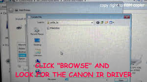 cp how to install canon ir series copier printer driver using