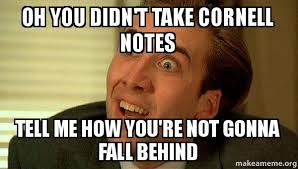 Meme Notes - oh you didn t take cornell notes tell me how you re not gonna fall