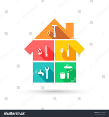 house different tools construction maintenance concept stock