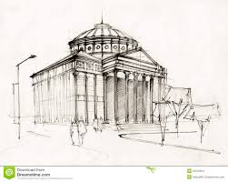 drawn building neoclassical architecture pencil and in color