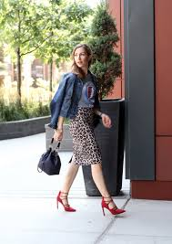 red strappy high heels with a leopard print pencil skirt