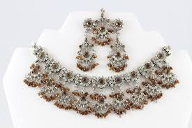 earrings and things gorgeous silver and brown necklace set with earrings and tika