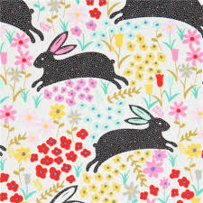 henry fabric grey black rabbit colorful flower