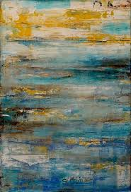 2018 20 24inch one panel cool color oil painting abstract lake