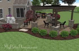 large paver patio design with pergola plan no 1156rr