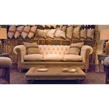 canapé chesterfield ancien canapé chesterfield hêtre vieilli et coton blanc