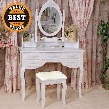 White Bedroom Vanity Table With Tilt Mirror Cushioned Bench Vanity Set Black Makeup Table Mirror Girls Stool Drawers Bedroom