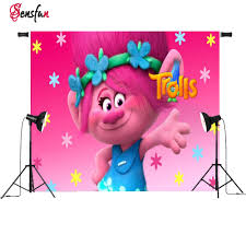 online shop vinyl photocall trolls pink poppy princess flowers