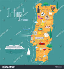 Portugal World Map by Map Portugal Vector Illustration Design Icons Stock Vector