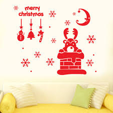 compare prices on christmas chimney online shopping buy low price christmas wall sticker elk chimney snowflake moon decoration xmas art decals shop glass window stickers adornos de navidad