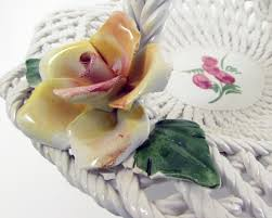capodimonte basket of roses bassano italy capodimonte reticulated basket weave flowers