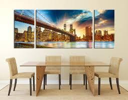 3 piece photo canvas cityscape multi panel art brooklyn bridge 3 piece wall art dining room art city canvas art print bridge large
