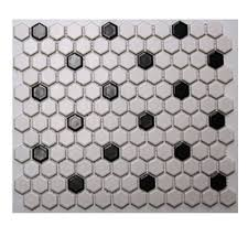 olean 10 pack 12 in x 12 in satinglo hex white black