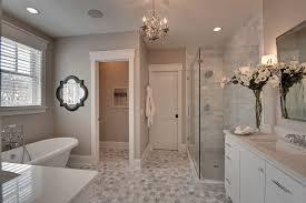hexagon tile bathroom traditional with baseboard gray counter gray