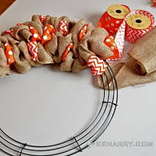 How To Decorate A Christmas Wreath How To Make A Burlap Wreath With Accent Ribbon Orange Chevron