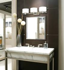 triple white pedestal vanity lights combined with rectangle