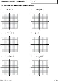 preview of math worksheet on graphing linear equations level 2