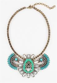 turquoise crystal necklace images Cluster frontal necklace gold tone turquoise crystal bib jpg