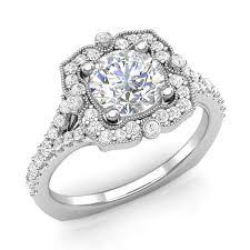 vintage halo engagement rings 14k white 1 25ctw vintage halo engagement ring