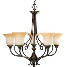 Aurora Chandelier Progress Lighting Kensington Collection 5 Light Forged Bronze