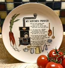 sweet vintage kitchen prayer plate home decor wall hanging by